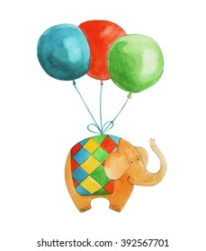 Elephant on balloons. Watercolor illustration. Hand drawing