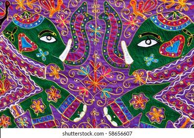 Elephant on Decorative Indian Fabric