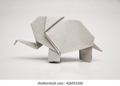 An elephant origami with white background