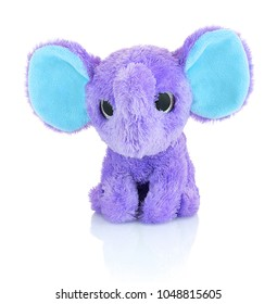 Elephant plushie doll isolated on white background with shadow reflection. Plush stuffed puppet on white backdrop. Purple or violet stuffed elephant toy for kids.