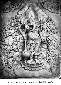 elephant relief curved sculpture seen in Thailand