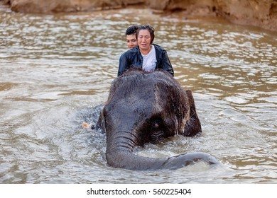 Elephant riding adventure in Thailand Kanchanaburi , Thailand April 10, 2015