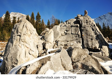 The elephant rock piles near the chester lake, formed by earth shell movement in rocky mountains area. it is a famous site in the chester lake pass at kananaskis country, alberta, canada