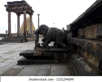 Elephant sculpture at Ancient temple at Belur, India
