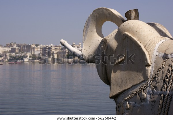 Elephant sculpture on the palace island in Lake Pichola