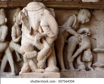 Elephant sculptures with erotic scenes from the kama sutra