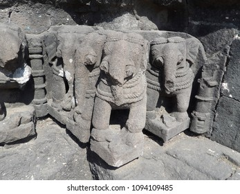 Elephant sculptures at Gondeshwar temple,India