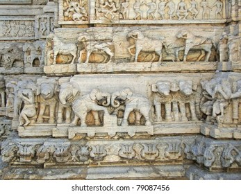 Elephant sculptures in Hindu temple in Udaipur in Rajasthan, India, Asia