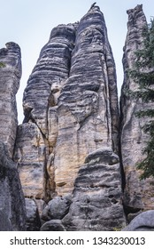 Elephant shape on the sandstone rock in Teplice Rocks, part of Adrspach-Teplice landscape park in Czech Republic