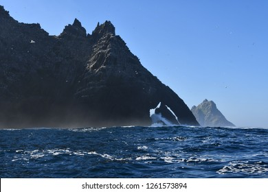 Elephant shaped rock formation in ireland.  Little Skellig Island.  Cliffs that form profile of elephant.
