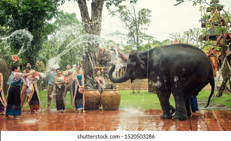 Elephant splashing water during Songkran Festival on Apr 14, 2019 in Ayutthaya, Thailand. Initiated by Tourism Authority of Thailand, elephants take part in the festival to give revelers more fun.