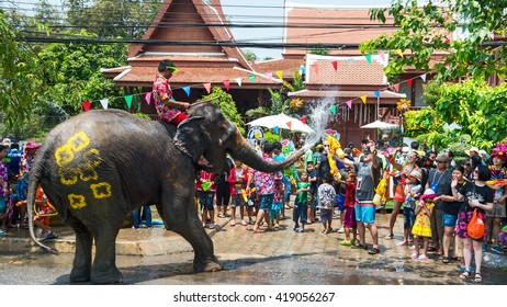 Elephant splashing water during Songkran Festival on Apr 13, 2016 in Ayutthaya, Thailand. Initiated by Tourism Authority of Thailand, elephants take part in the festival to give revelers more fun.