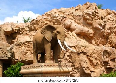 Elephant statue, Earthquake Park, Sun City, South Africa