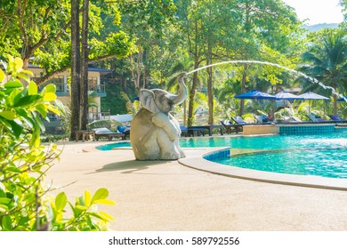 Elephant statues spraying water swimming pool.At Koh Chang Date 24/12/2016