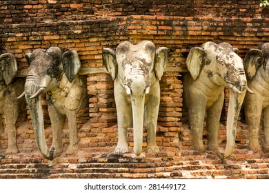 Elephant statues in Sukhothai historical park, Thailand. These are in the ancient temples in Sukhothai historical park.