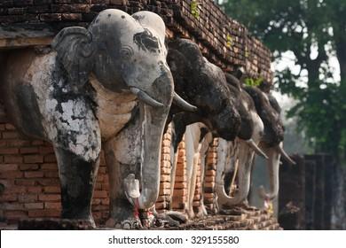 Elephant statues in Sukhothai historical park, Thailand.