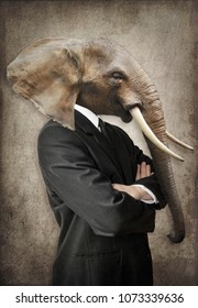 Elephant in a suit. Man with the head of an elephant. Concept graphic in vintage style