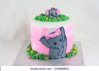 Remarkable Elephant Birthday Cake Cartoon Stock Photos Images Photography Funny Birthday Cards Online Overcheapnameinfo