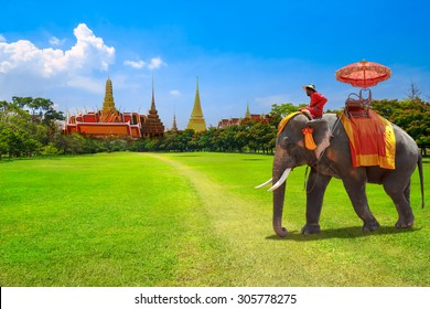 Elephant for tourists on an ride tour at the Buddhist temple of Wat Phra Kaeo at the Grand Palace in Bangkok,Thailand