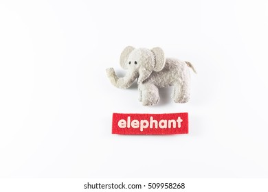 an elephant toy isolated on white background, telling the tale for kid