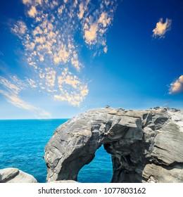 The Elephant trunk rock at the north coast of Taiwan, Shenao, New Taipei City, Taiwan