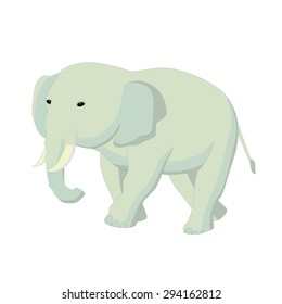 �Caricature of an  elephant walking and looking away.