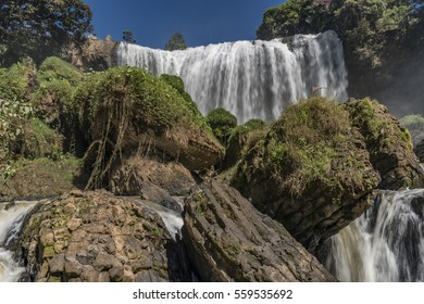 Elephant waterfall in nice sunny day in Vietnam