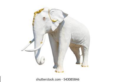 Elephant white stucco isolated