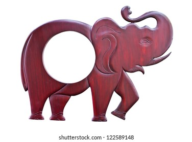 Elephant wood carved on white background,with clipping path