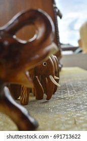 Elephant wooden toy. Out of focus