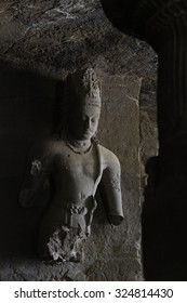 Elephanta cave interior, in Elephanta island near Mumbai, India. This is one of the UNESCO World heritage Site.