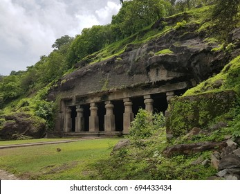 Elephanta Caves, The sculpted caves located on Elephanta Island,east of the city of Mumbai in the Indian state of Maharashtra.UNESCO World Heritage Site.Mumbai,India.