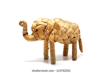 Elephant,reed handcraft wicker on white background