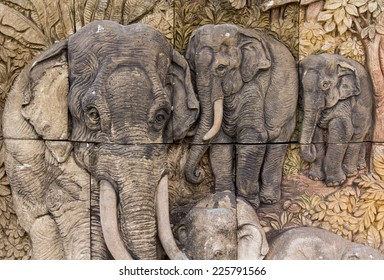 Elephants on the wall in thai style