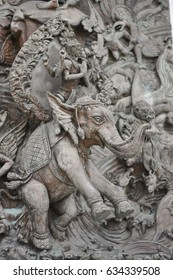 elephants wood picture in temple , Bangkok , Thailand