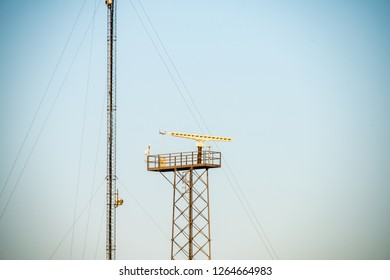 eletricity line poles and wires on blu sky in countryside environment