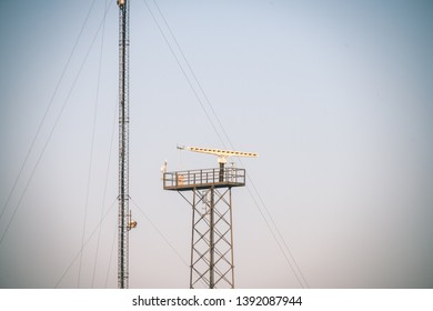 eletricity line poles and wires on blu sky in countryside environment - vintage retro look