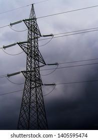 eletricity transmission pylon on a rainy day