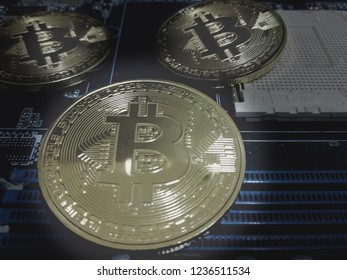 selective Focus new money eletronic  Bitsiness, bitcoin on mainboard on Darktone background