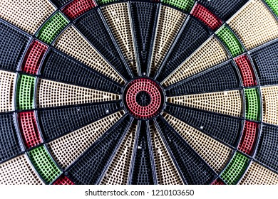 Eletronic dart board game bull eye close up