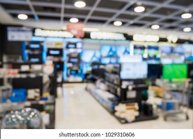 eletronic department store show Television TV and home appliance with bokeh light blurred background