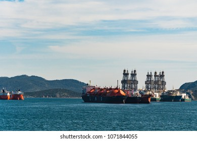 Eleusina, Greece/ March, 2018: LNG vessels waiting for bunkering in Corinthian gulf in Greece