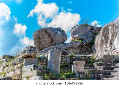ELEUSIS, ATTICA/GREECE - FEBRUARY 28 2016 : Archeological Site Of Eleusis. Devoted to Demeter and Persephone, it was known for the Eleusinian Mysteries, the most sacred of all religious rites.