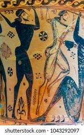 Eleusis (Eleusina). Ancient ceramic art. Funerary Proto-Attic Amphora