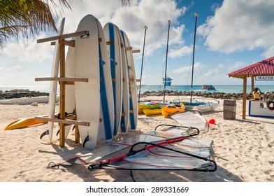 ELEUTHERA, BAHAMAS - DECEMBER 7: Surf boards parking rack in front of the water sport check-in on Princess Cays beach, Eleuthera in the Bahamas on December 7, 2011.