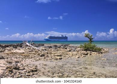 ELEUTHERA, BAHAMAS - FEBRUARY 9, 2014 : View from Eleuthera shore on Crown Princess ship anchored at sea