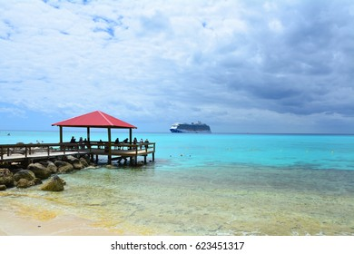 ELEUTHERA, BAHAMAS - MARCH 21, 2017 : View from Princess Cays on Royal Princess ship anchored at sea. Princess Cays is a private resort of Princess Cruises on Eleuthera island