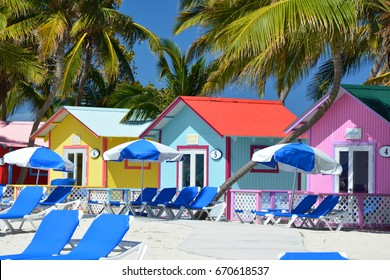 ELEUTHERA, BAHAMAS - MARCH 21, 2017 : Colorful bungalows on Princess Cays beach. Princess Cays is an exclusive port of call of Princess Cruises line