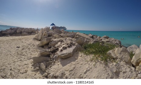 Eleuthera Island, Bahamas - 2016. View of amazing seaside in Princess Cays in Bahamas with beautiful clouds and waves.
