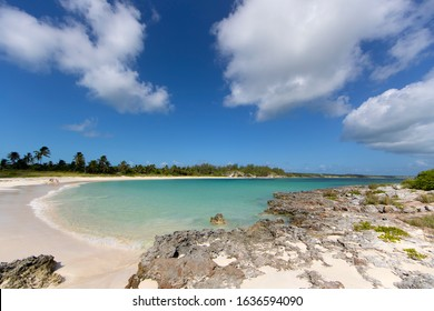 Eleuthera island, Bahamas. August 06 2016:B eautiful beach with crystal clear waters and white sand, Ten Bay Beach,  Eleuthera , Bahamas.